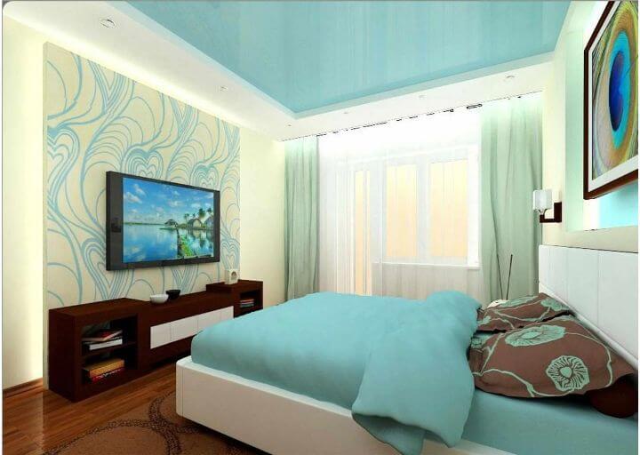 Голубой натяжной потолок фото в интерьере