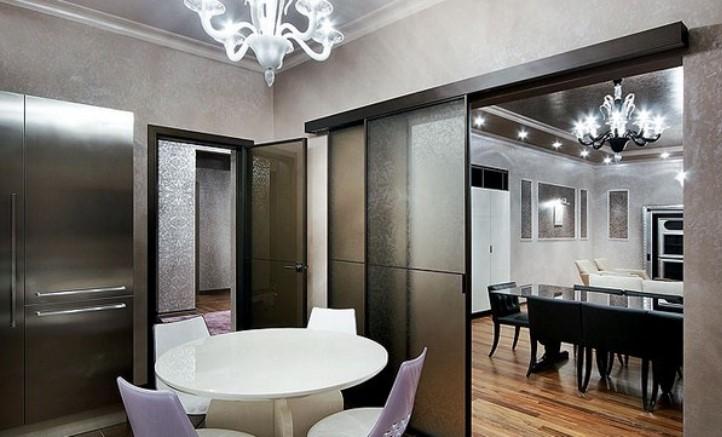 Дизайн кухни гостиной с раздвижной перегородкой
