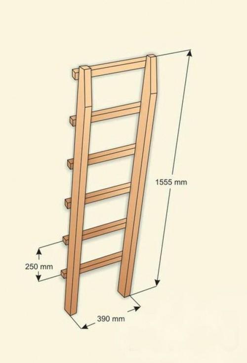 Габариты лестницы под двухъярусную кровать