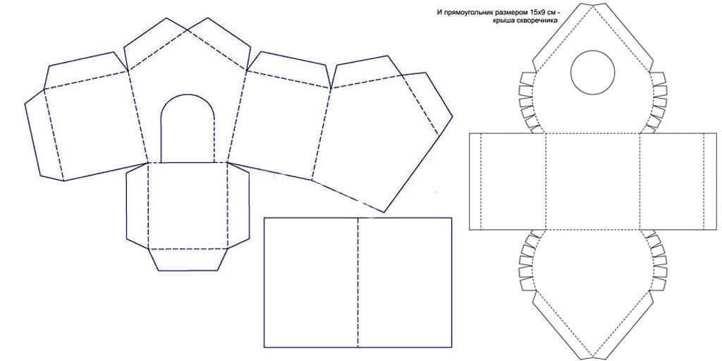Чертеж-схема скворечника из картона своими руками