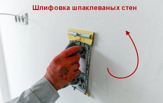 Процесс шлифовки стен