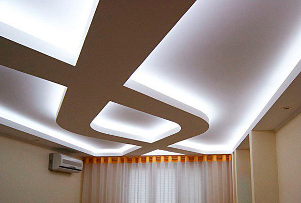 Двухуровневый потолок из гипсокартона своими руками: фото и видео