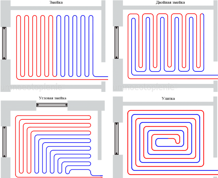 4 способа укладки теплого пола — змейка, двойная и угловая змейка и улитка