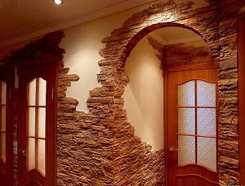 Отделка декоративным камнем внутри помещения (фото)