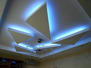 Фото потолка из гипсокартона с подсветкой