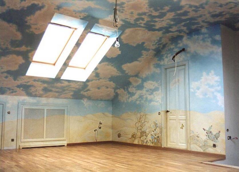 потолок под углом варианты отделки