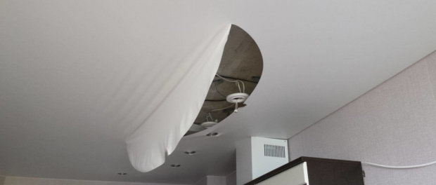 ремонт натяжного потолка порез своими руками видео