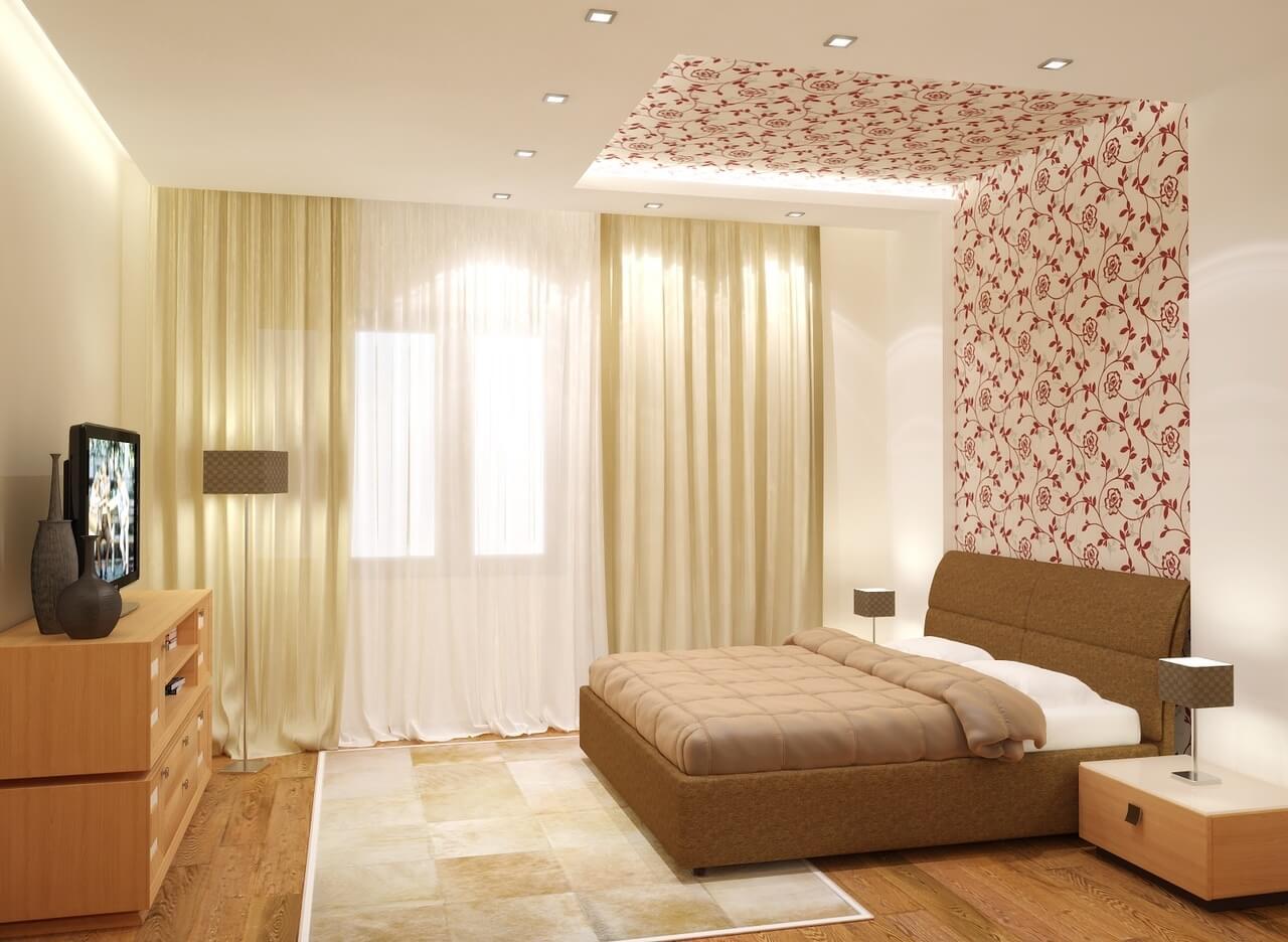 отделка потолка в спальне фото