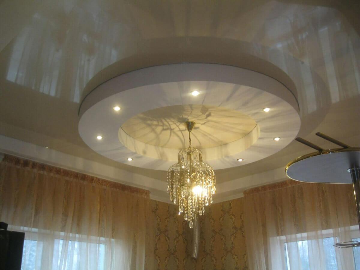 круглый двухуровневый потолок