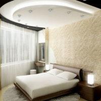 Фигурный гипсокартонный потолок в спальне