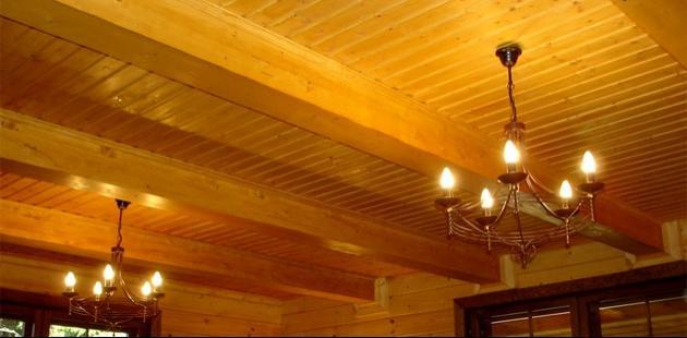отделка потолка брусом