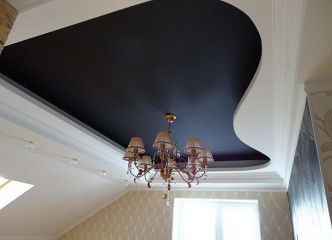 покраска потолка в черный цвет