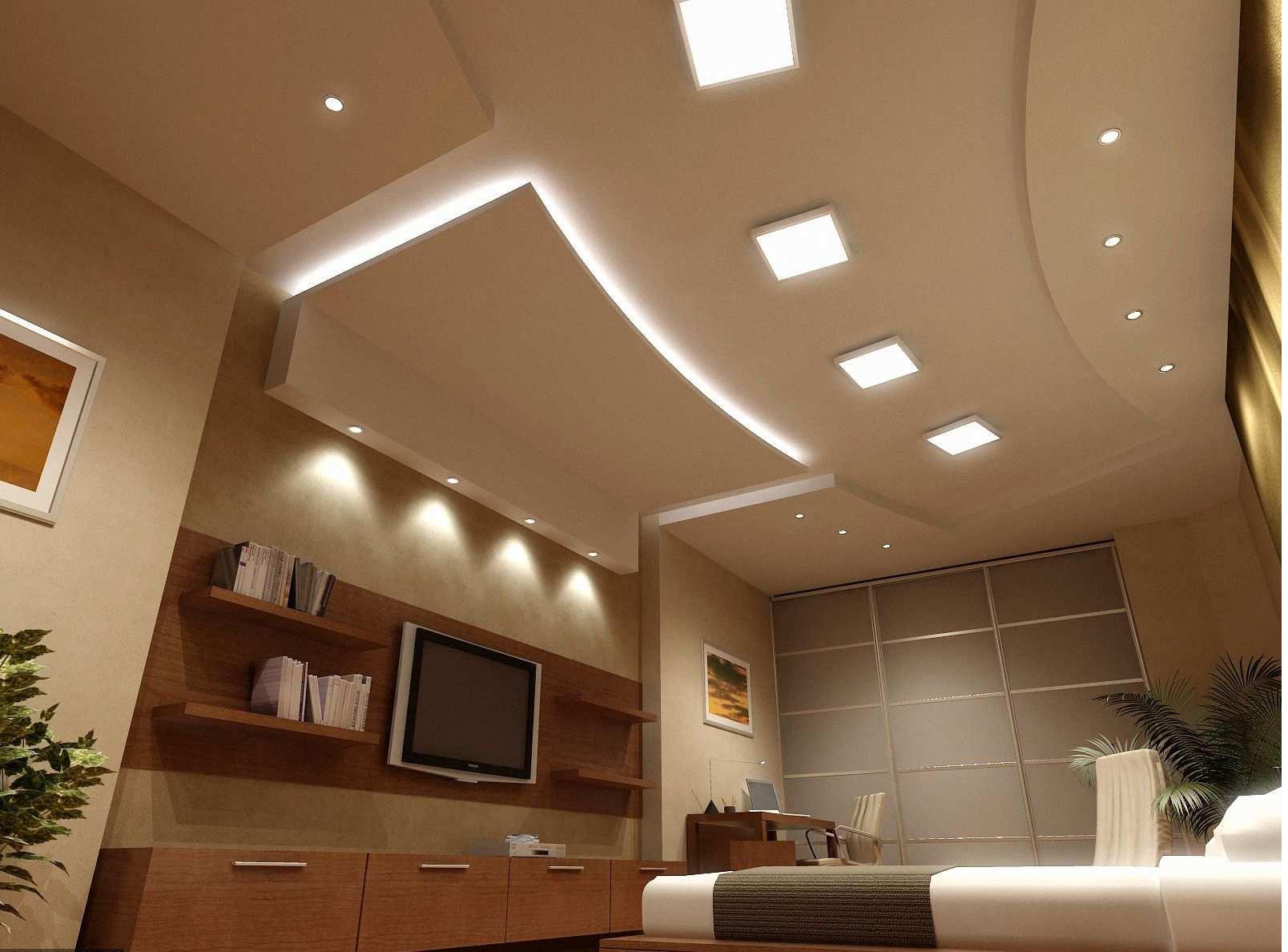 фигурные потолки из гипсокартона фото в зале