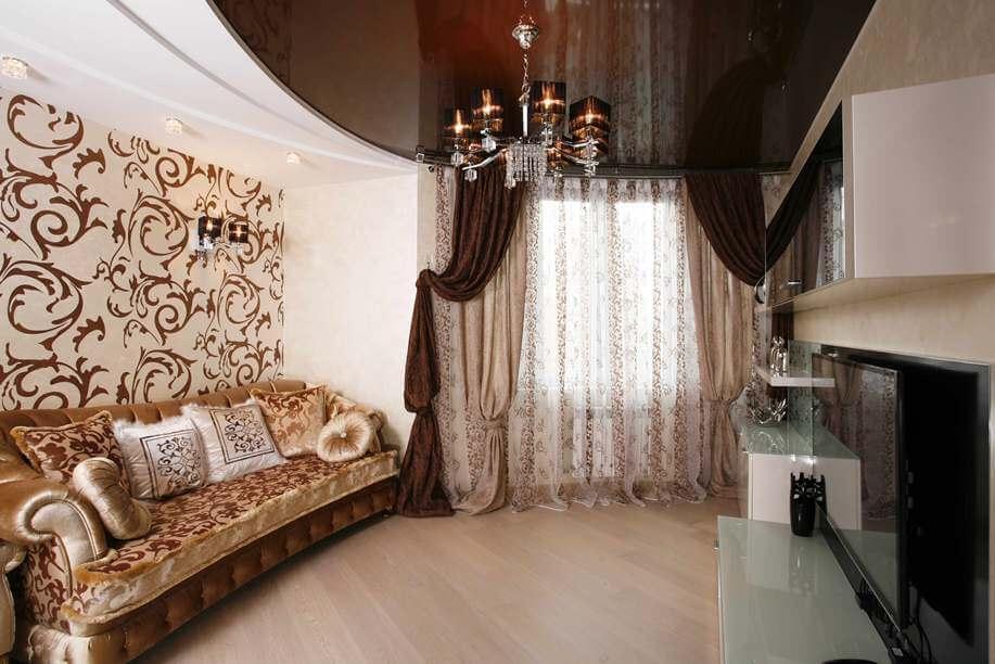 натяжные потолки коричневого цвета