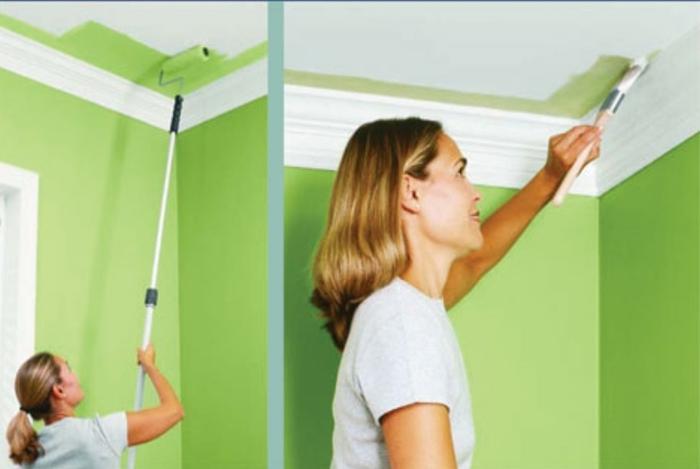 потолок покрашен водоэмульсионной краской как покрасить заново