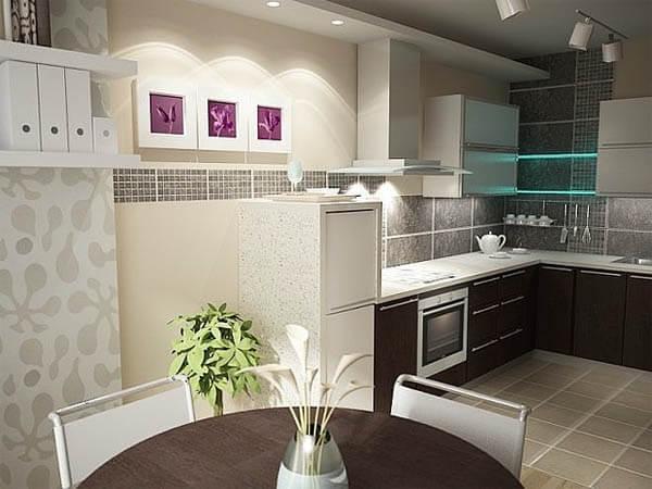 дизайн кухни с низким потолком