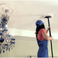 Мытье водоэмульсионного потолка