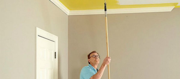 Покраска потолка водоэмульсионной краской - Ремонт своими