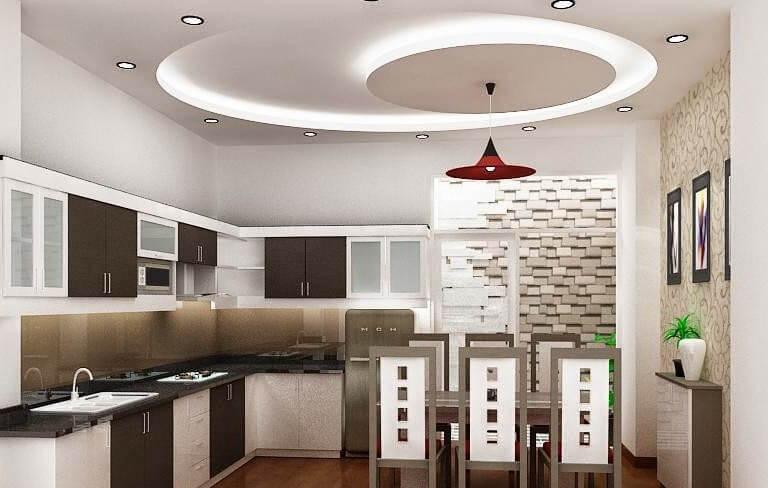 отделка потолков гипсокартоном на кухне фото