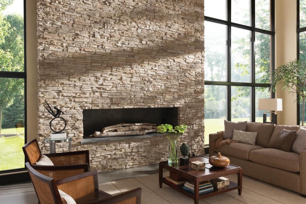 отделка потолка декоративным камнем