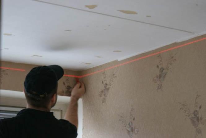 подготовка стен под натяжные потолки