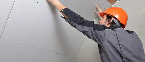 гипсокартон на потолок без каркаса