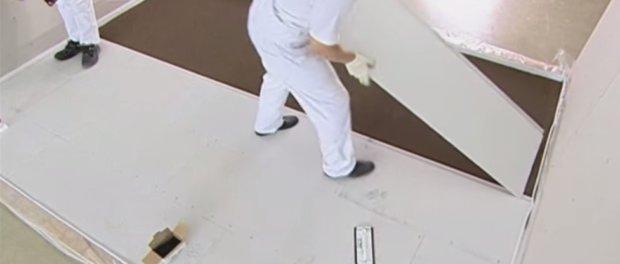 гипсокартон на пол под плитку