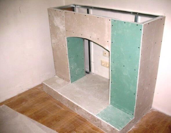 портал для камина своими руками из гипсокартона
