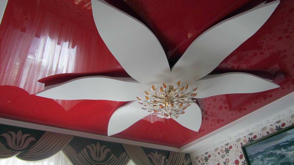 как сделать цветок из гипсокартона на потолке