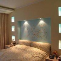 Отделка стен спальни гипсокартоном