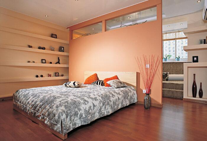 отделка гипсокартоном стен спальни