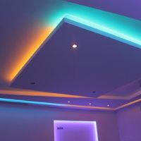 Парящий потолок из гипсокартона с подсветкой своими руками