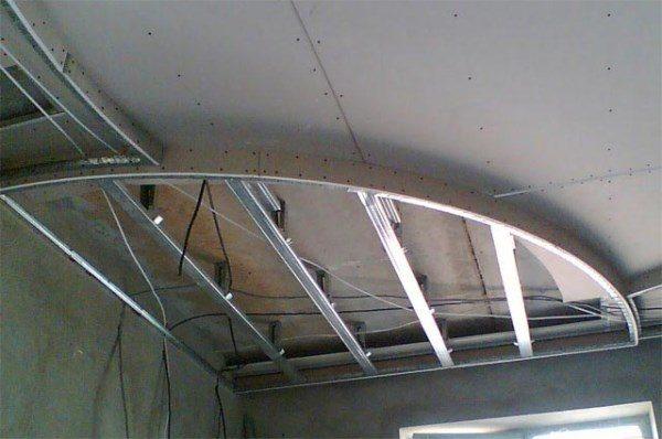 как сделать полукруг из гипсокартона на потолке