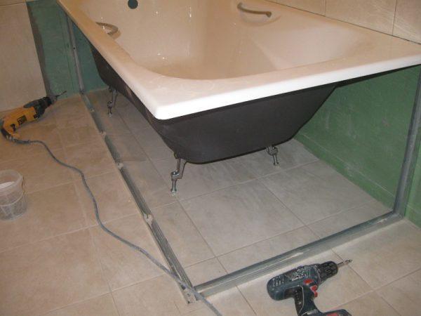 экран под ванну из гипсокартона своими руками